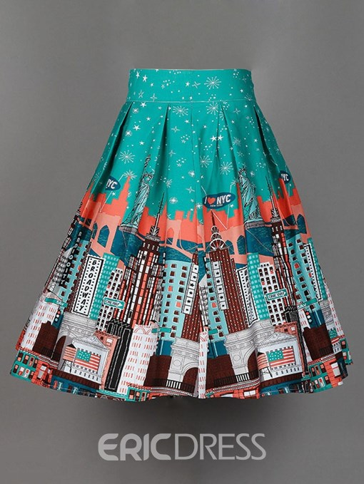 Ericdress Print Broonstick Pleated Women's Skirt