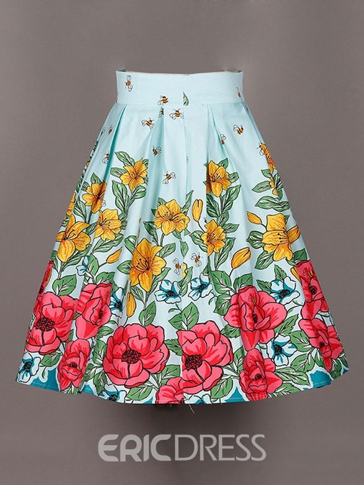 Ericdress Floral Print Broomstick Women's Skirt