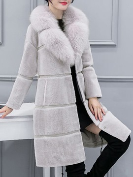 Ericdress Patchwork Faux Fur Mid-Length Long Sleeves Coat