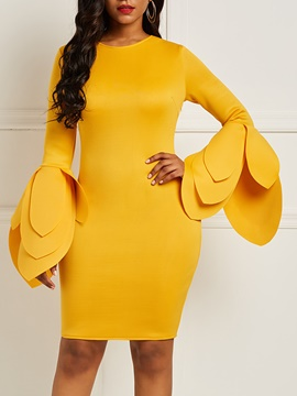 Ericdress Bodycon Long Sleeves Knee-Length Yellow Women's Dress