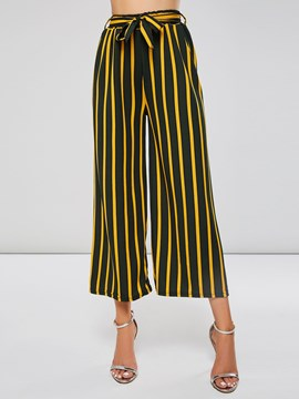 Ericdress Striped Elastic Waist Belt Women's Pants