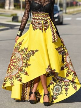 Ericdress Dashiki Asymmetric Pleated Print Skirts