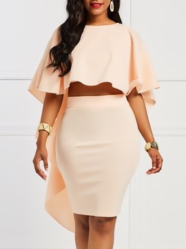 Ericdress Bodycon Ruffles T-Shirt and Skirt Women's Two Piece Set