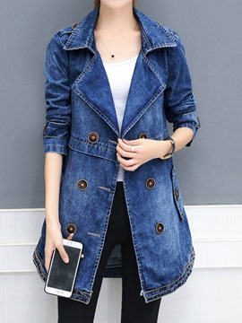 Ericdress Notched Lapel Patchwork Button Jacket