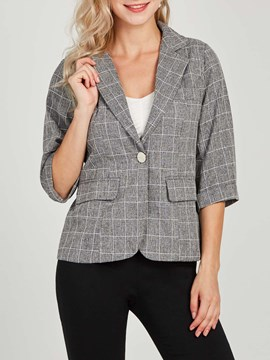Ericdress Plaid Casual Pocket Button Blazer