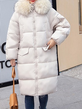 Ericdress Zipper Fur Collar Long Raglan Sleeve Coat