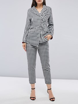 Erikdress Plaid Button Büro Dame Frauen zweiteilige Set