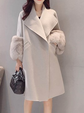 Ericdress Lapel Plain Patchwork Faux Fur Coat