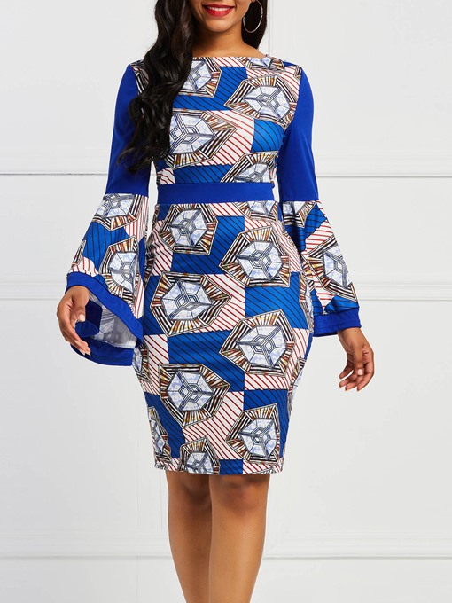 Ericdress African Fashion Flare Sleeve Stripe Color Block Bodycon Dress