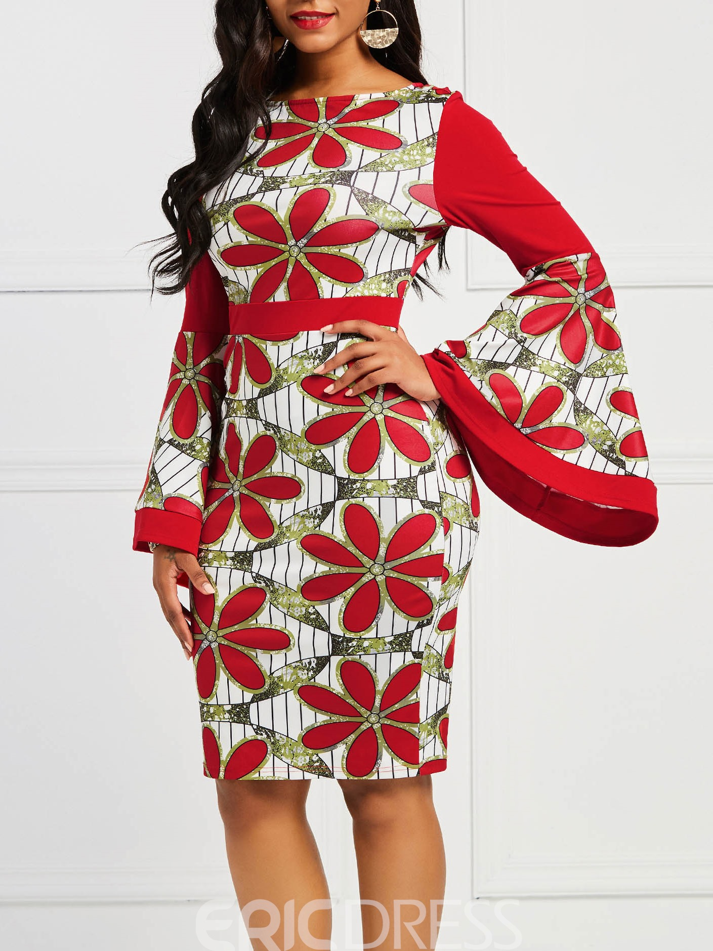 Ericdress Floral Color Block Flare Sleeve Bodycon Dress