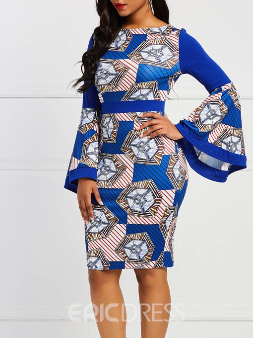 Ericdress Plus Size African Fashion Flare Sleeve Stripe Color Block Bodycon Dress
