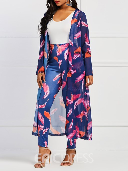 Ericdress Plant Print Vest Trench Coat and Pants Women's Three Piece Suit