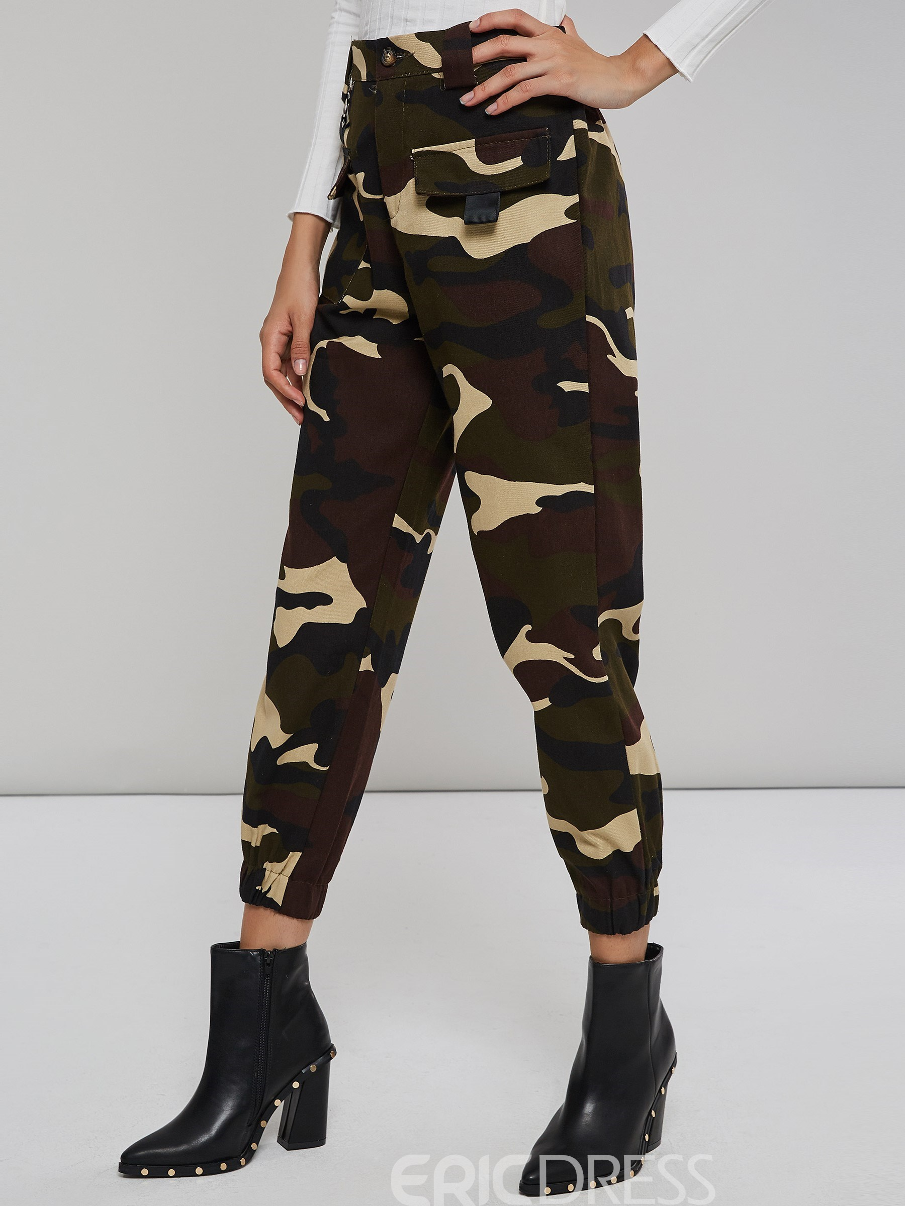 Ericdress Camouflage Pocket Loose Women's Pants