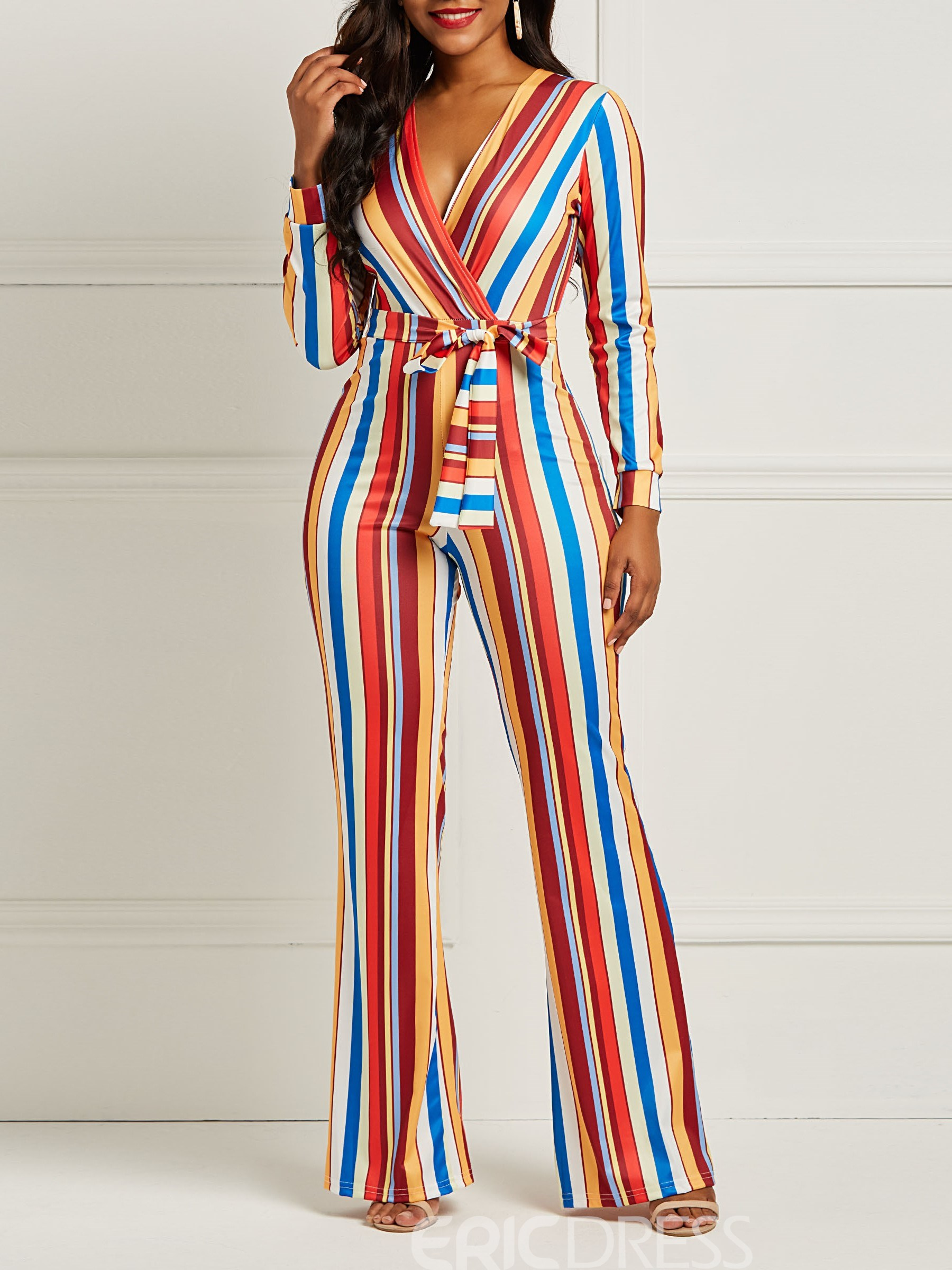 Ericdress Striped Color Block Skinny Women's Jumpsuits