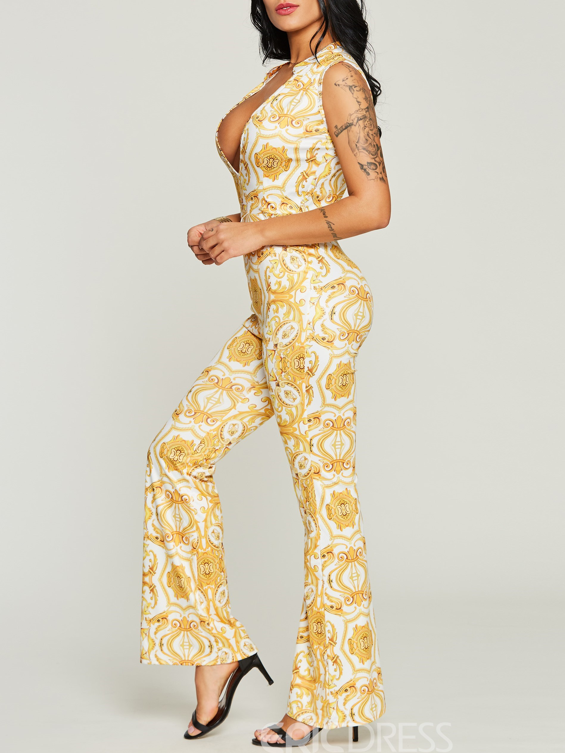 Women's Clothing Slim Bell Bottom Jumpsuit(Without Belt)