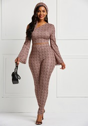 Ericdress Geometric Print Flare Sleeve Skinny T-Shirt and Pencil Pants Womens Two Piece Sets thumbnail