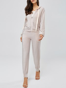 Ericdress Zipper Plain Jacket and Pants Women's Two Piece Set