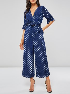 Ericdress Polka Dot Lace-Up Wide Legs Women's Jumpsuits