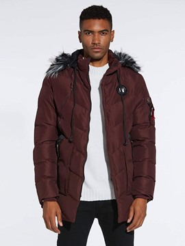 Ericdress Plain Fur Hooded Mens Thick Winter Down Coats