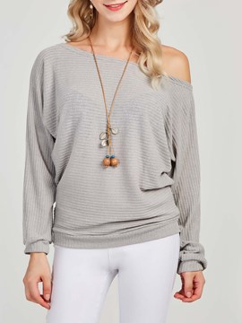 Ericdress Oblique Collar Plain Long Sleeves Knitwear