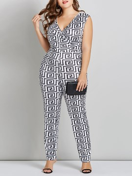 Ericdress Geometric Print Skinny Pencil Pants Jumpsuits