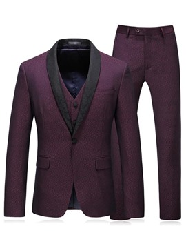 Ericdress Plain Red Shawl Collar Mens 3 Pieces Suits