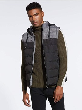 Ericdress Patchwork Removable Hooded Zipper Mens Quilted Winter Vest