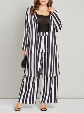 Ericdress Striped Color Block Plusee Trench Coat and Pants Women's Two Piece Set