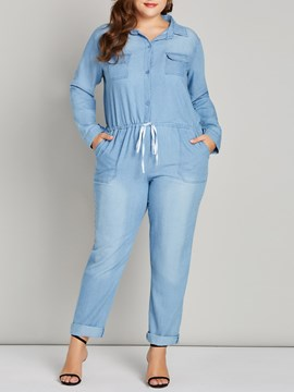 Ericdress Denim Pocket Plain Plusee Women's Jumpsuits