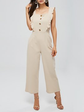 Ericdress Ruffles Button Plain Women's Jumpsuits