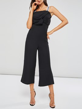 Ericdress Plain Letter Backless Women's Jumpsuits