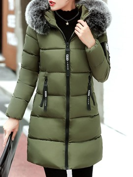 Ericdress Zipper Fur Collar Hooded Down Coat