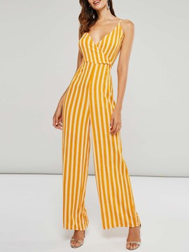 Ericdress Striped Backless Wide Legs Women's Jumpsuits