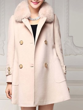 Ericdress Plain Double-Breasted Fur Collar Coat