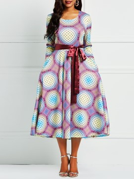 Ericdress Half Sleeve Round Neck Geometric Print Dresses