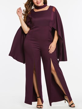 Ericdress Plus Size Plain Slit Women's Jumpsuit