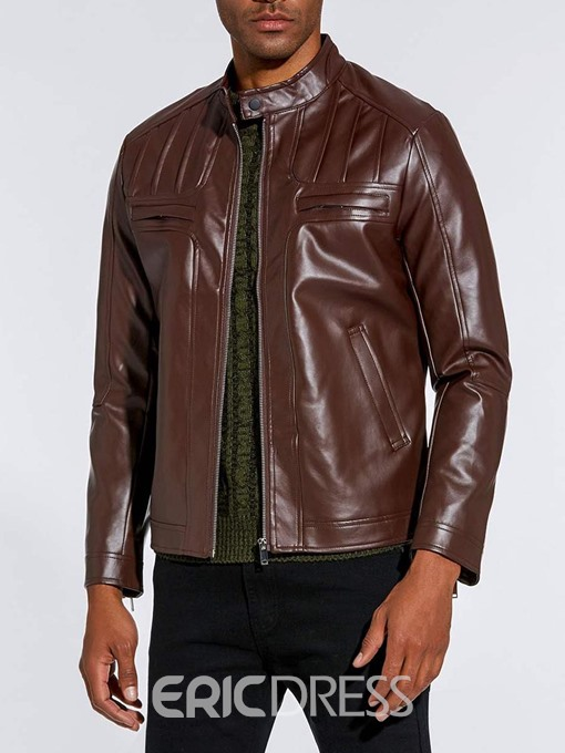 Ericdress Plain Slim Fitted Stand Collar Zipper Mens PU Leather Jacket