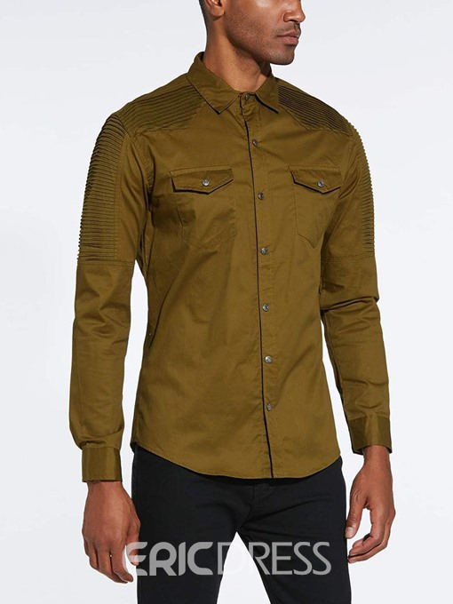 Ericdress Pleated Olive Green Pocket Mens Lapel Casual Shirts
