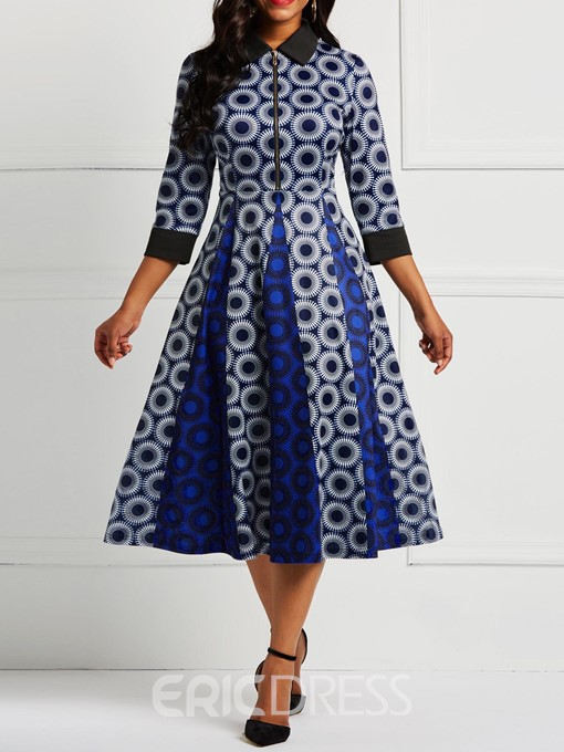 Ericdress Long Sleeve Pullover A-Line Polka Dots Color Block Dresses