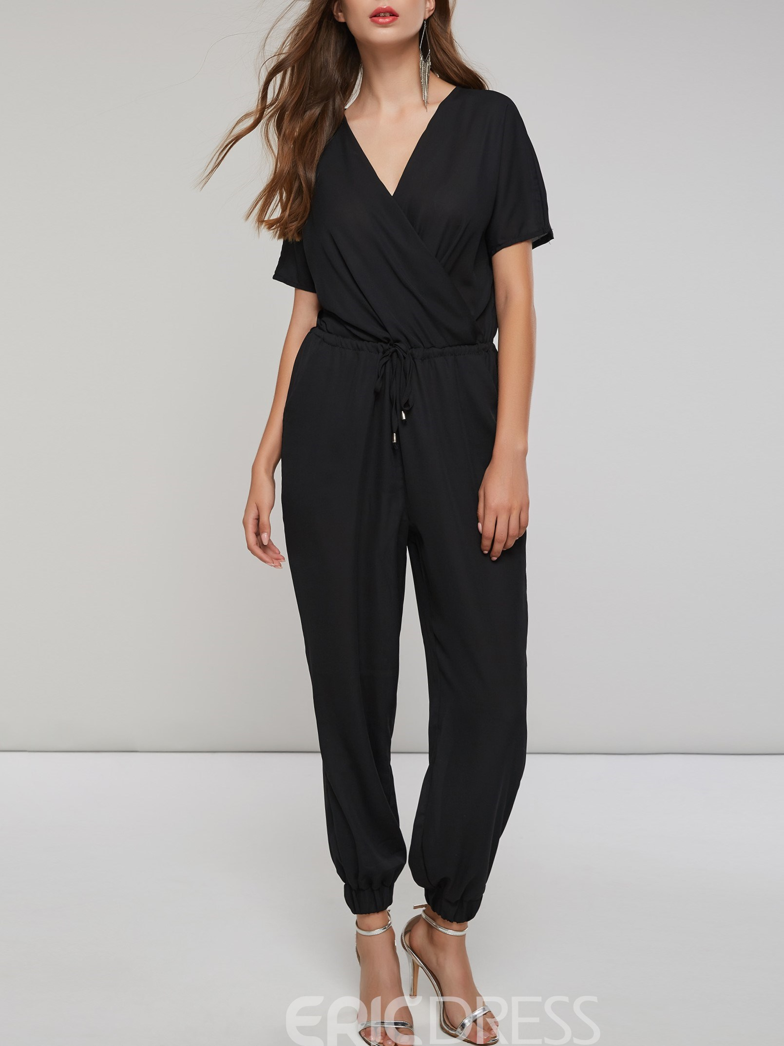 Ericdress Plain Lace-Up Pocket Women's Jumpsuits