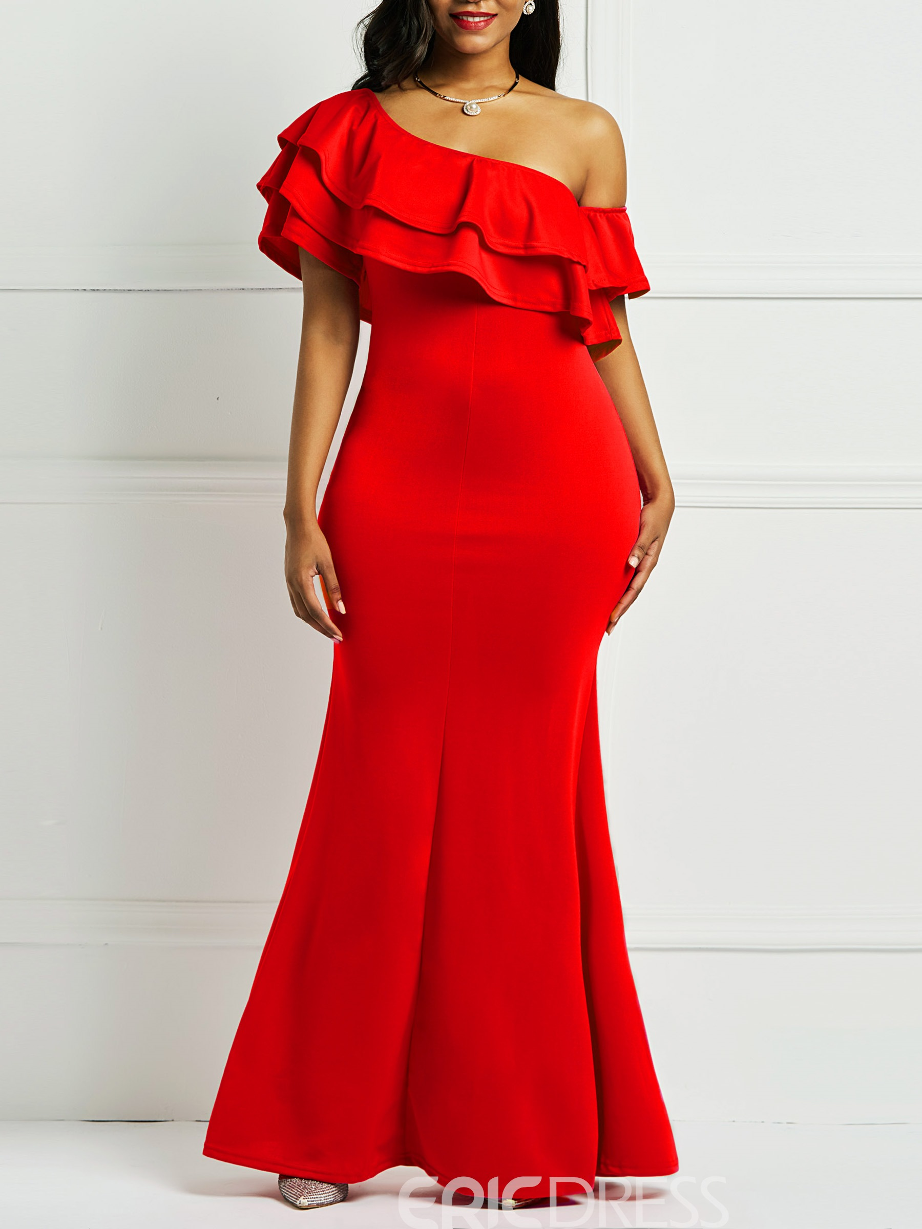 Ericdress Ruffles Bodycon Off Shoulder Bodycon Women's Party Dresses
