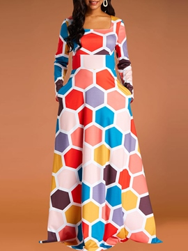 Ericdress Long Sleeve Ankara Geometric Color Block Women's Dress