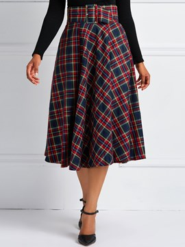 Ericdress A-Line High-Waist Plaid Women's Skirt