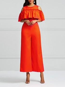 Ericdress Falbala Cold Shoulder Wide Legs Women's Jumpsuits