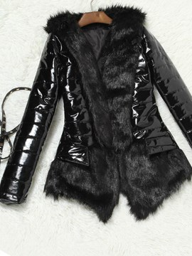 Ericdress Faux Leather Plain Slim Faux Fur Overcoat
