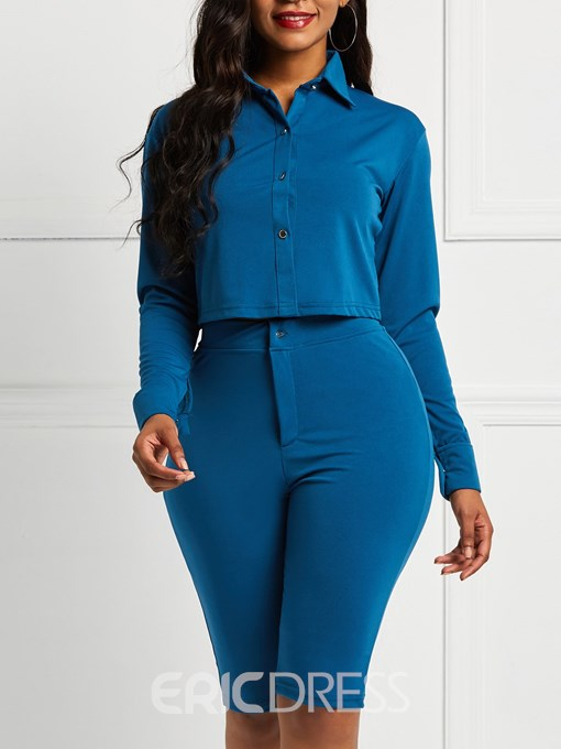 Ericdress OL Button Lapel Skinny Top and Pants Women's Two Piece Sets