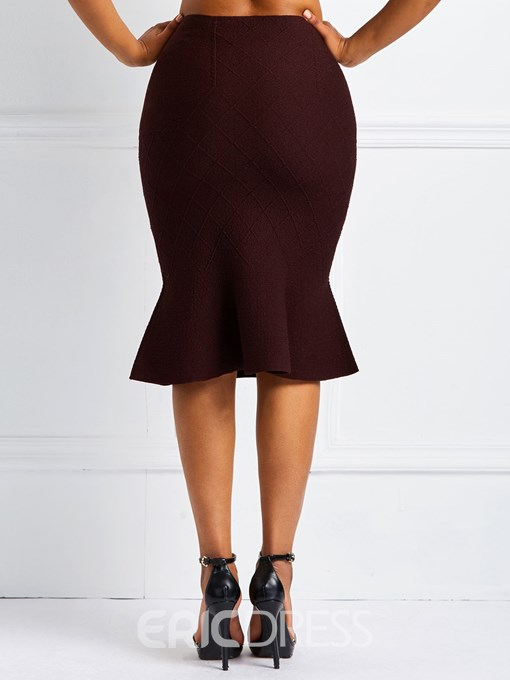 Ericdress Mermaid Knee-Length Plain Women's Skirt