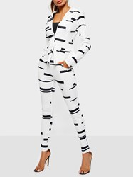 Ericdress Striped Print Stretchy Color Block Two Piece Sets thumbnail