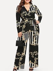 Ericdress Plus Size Floral Full Length Casual Wide Legs Plusee Jumpsuit thumbnail