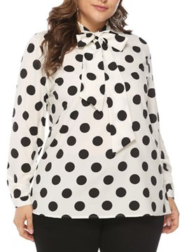 Ericdress Regular Print Polka Dots Long Sleeve Mid-Length Blouse